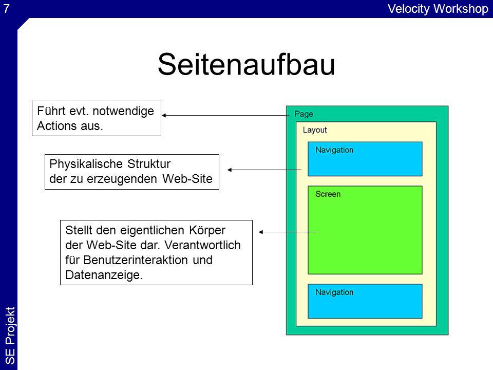Velocity Workshop SE Projekt 28 Verwendung TemplateLink (1) Referenzierung im Velocity mit $link Klasse TemplateLink eine Erweiterung der Klasse DynamicURI Verwendung: Erzeugung von URIs Bspw.