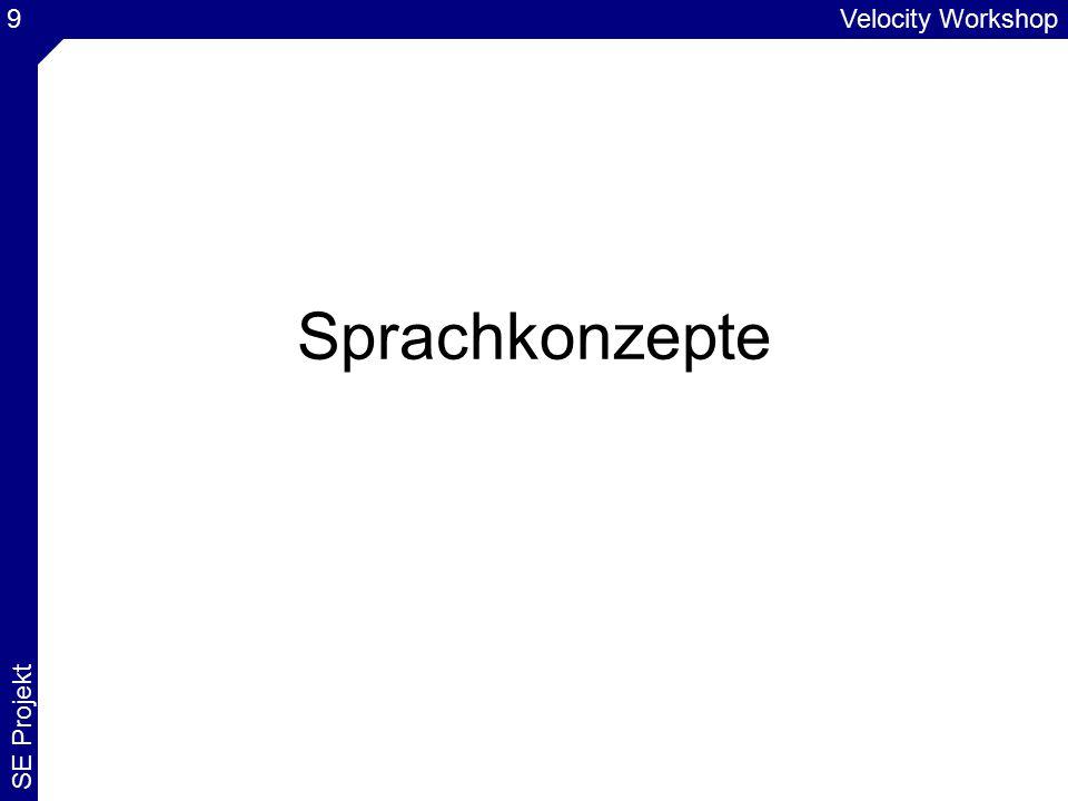 Velocity Workshop SE Projekt 40 src Ordner spiegelt Struktur im class Ordner wieder modules – zu *.vm zugehöriger Java Code screens – eigentliche Inhaltssteuerung actions – spezielle Aktionen