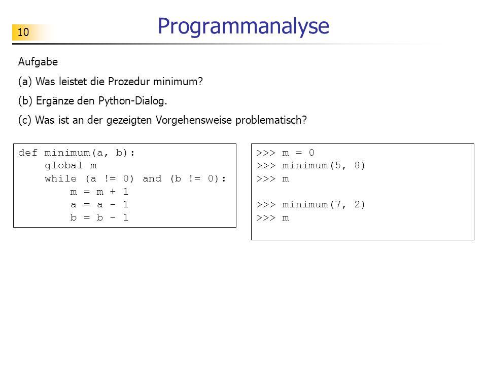 10 Programmanalyse Aufgabe (a) Was leistet die Prozedur minimum.