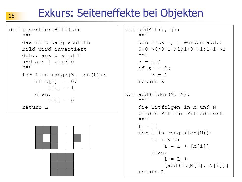 15 Exkurs: Seiteneffekte bei Objekten def invertiereBild(L): das in L dargestellte Bild wird invertiert d.h.: aus 0 wird 1 und aus 1 wird 0 for i in range(3, len(L)): if L[i] == 0: L[i] = 1 else: L[i] = 0 return L def addBit(i, j): die Bits i, j werden add.: 0+0->0;0+1->1;1+0->1;1+1->1 s = i+j if s == 2: s = 1 return s def addBilder(M, N): die Bitfolgen in M und N werden Bit für Bit addiert L = [] for i in range(len(M)): if i < 3: L = L + [M[i]] else: L = L + [addBit(M[i], N[i])] return L