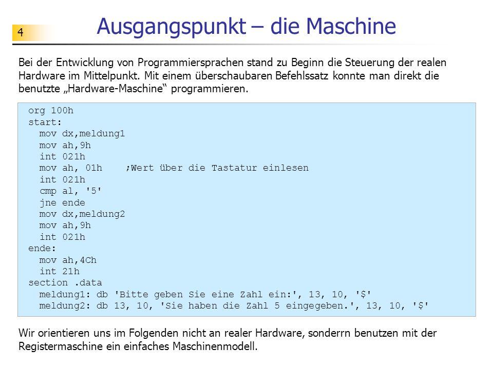 4 Ausgangspunkt – die Maschine Bei der Entwicklung von Programmiersprachen stand zu Beginn die Steuerung der realen Hardware im Mittelpunkt.