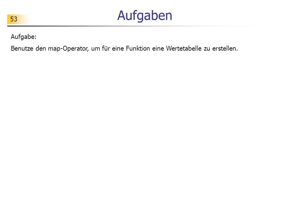 53 Aufgaben Aufgabe: Benutze den map-Operator, um für eine Funktion eine Wertetabelle zu erstellen.
