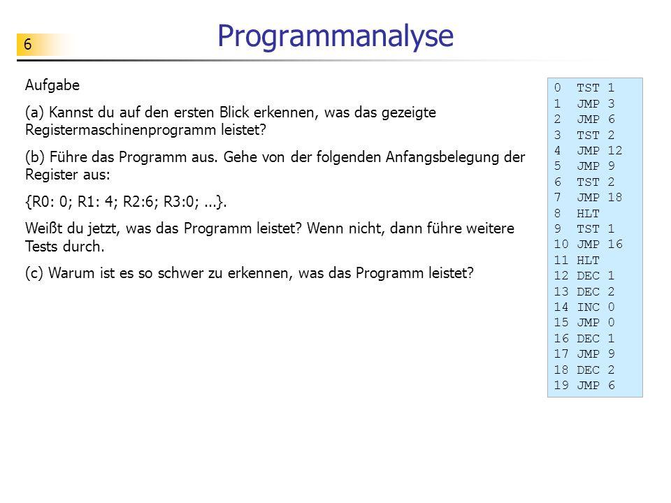 6 Programmanalyse Aufgabe (a) Kannst du auf den ersten Blick erkennen, was das gezeigte Registermaschinenprogramm leistet.