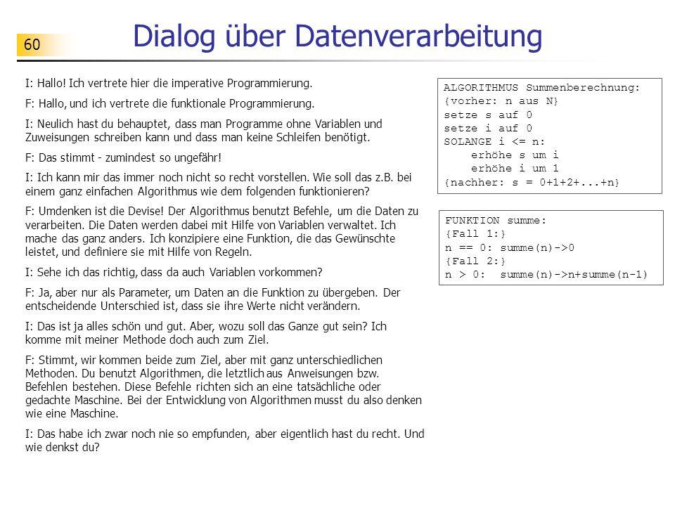 60 Dialog über Datenverarbeitung I: Hallo.Ich vertrete hier die imperative Programmierung.