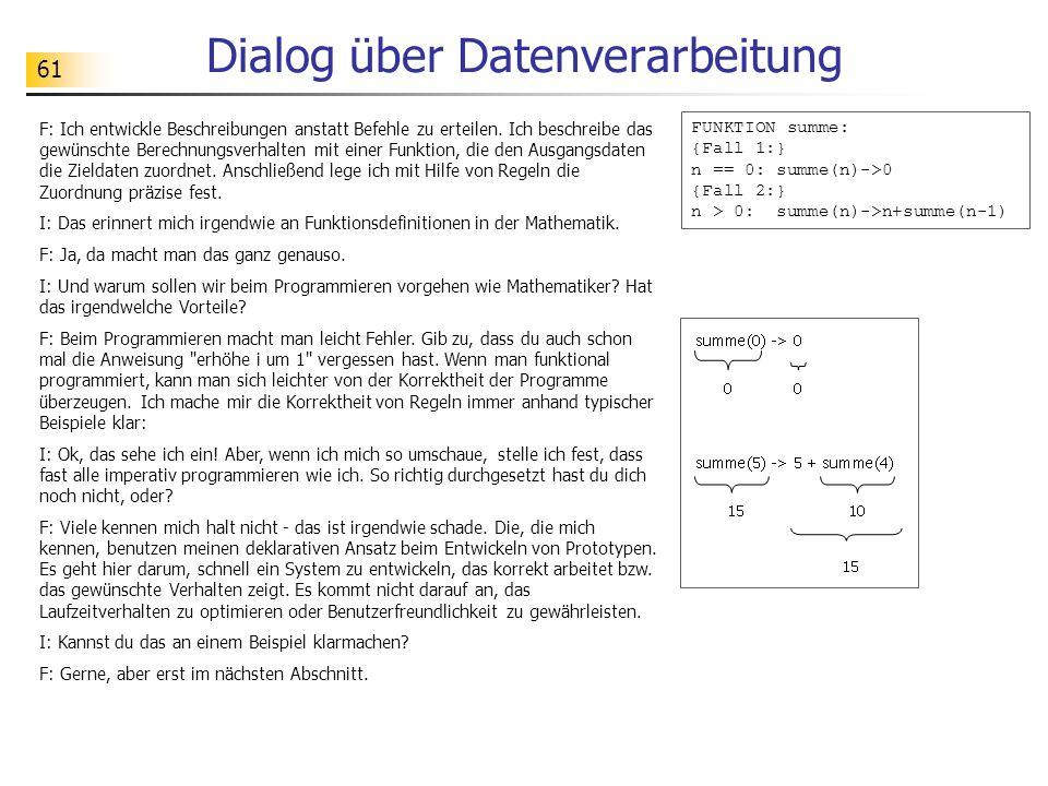 61 Dialog über Datenverarbeitung F: Ich entwickle Beschreibungen anstatt Befehle zu erteilen.