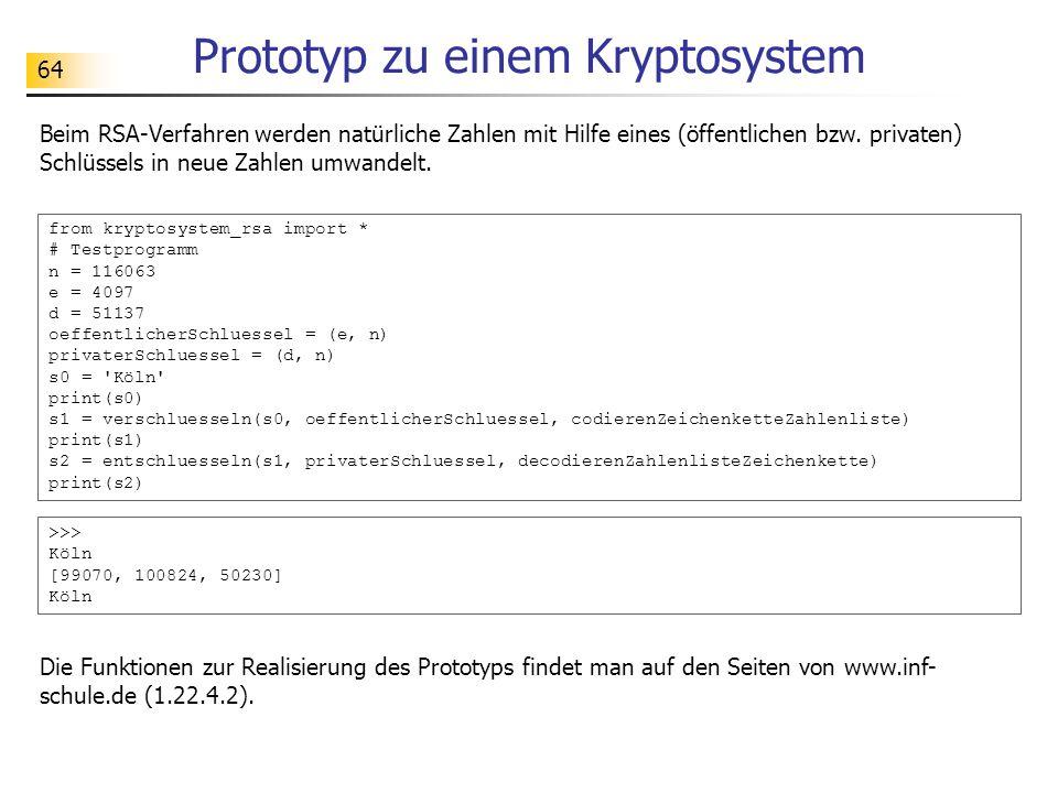 64 Prototyp zu einem Kryptosystem Beim RSA-Verfahren werden natürliche Zahlen mit Hilfe eines (öffentlichen bzw.