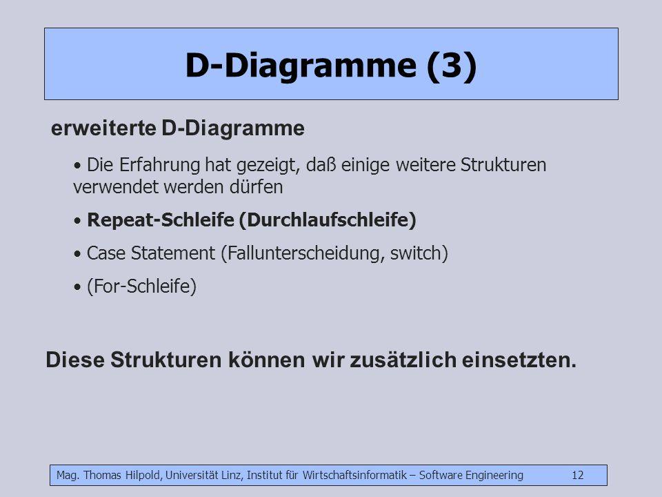 Mag. Thomas Hilpold, Universität Linz, Institut für Wirtschaftsinformatik – Software Engineering 12 D-Diagramme (3) erweiterte D-Diagramme Die Erfahru