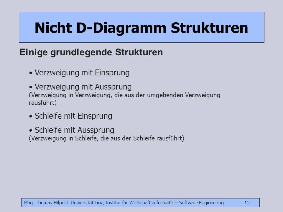 Mag. Thomas Hilpold, Universität Linz, Institut für Wirtschaftsinformatik – Software Engineering 15 Nicht D-Diagramm Strukturen Einige grundlegende St