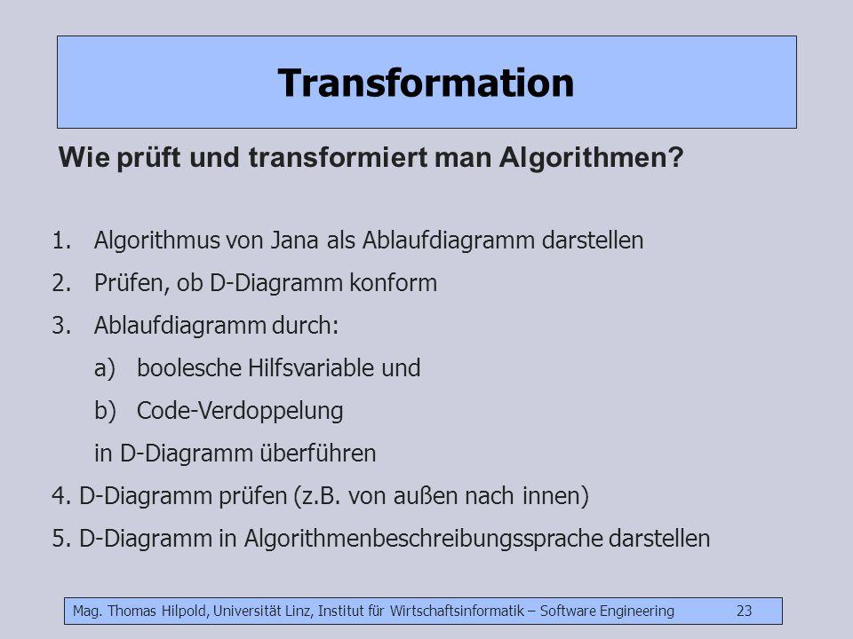 Mag. Thomas Hilpold, Universität Linz, Institut für Wirtschaftsinformatik – Software Engineering 23 Transformation Wie prüft und transformiert man Alg