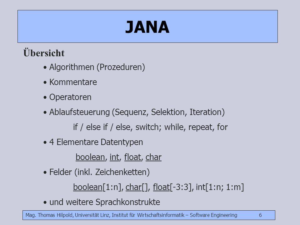 Mag. Thomas Hilpold, Universität Linz, Institut für Wirtschaftsinformatik – Software Engineering 6 Jana JANA Übersicht Algorithmen (Prozeduren) Kommen