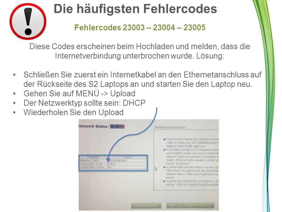 Die häufigsten Fehlercodes Fehlercodes 23003 – 23004 – 23005 Diese Codes erscheinen beim Hochladen und melden, dass die Internetverbindung unterbrochen wurde.