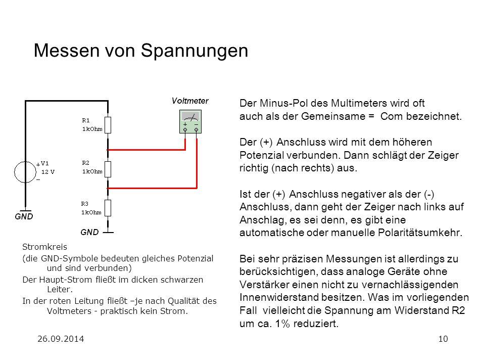 26.09.201410 Messen von Spannungen Der Minus-Pol des Multimeters wird oft auch als der Gemeinsame = Com bezeichnet. Der (+) Anschluss wird mit dem höh