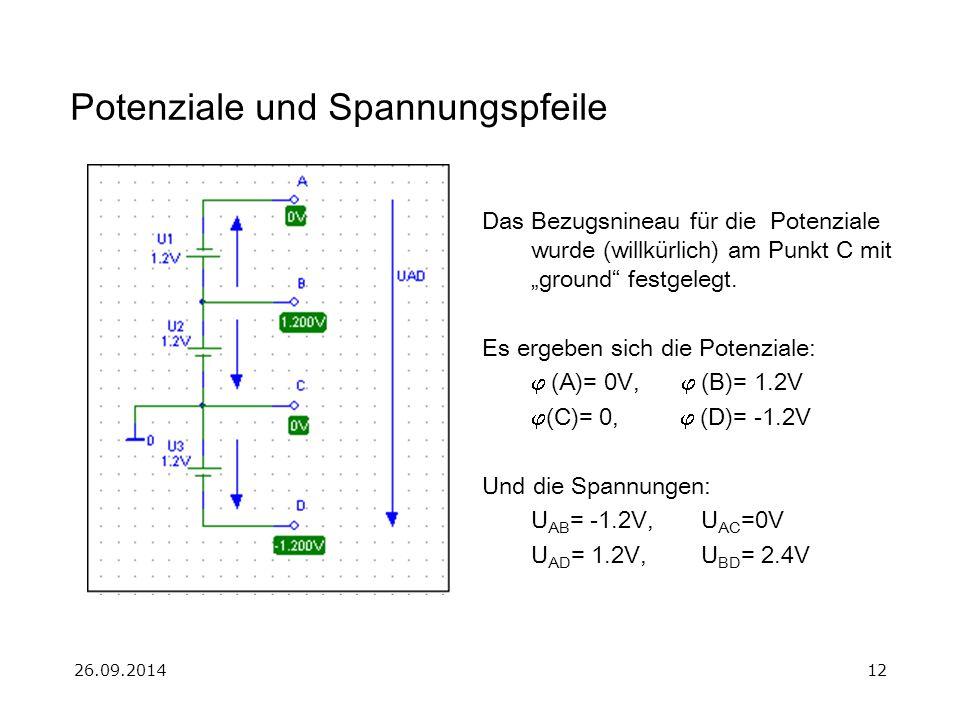 """26.09.201412 Potenziale und Spannungspfeile Das Bezugsnineau für die Potenziale wurde (willkürlich) am Punkt C mit """"ground"""" festgelegt. Es ergeben sic"""