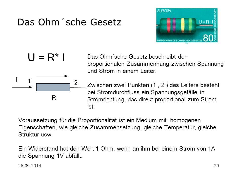 26.09.201420 Das Ohm´sche Gesetz U Das Ohm´sche Gesetz beschreibt den proportionalen Zusammenhang zwischen Spannung und Strom in einem Leiter. Zwische