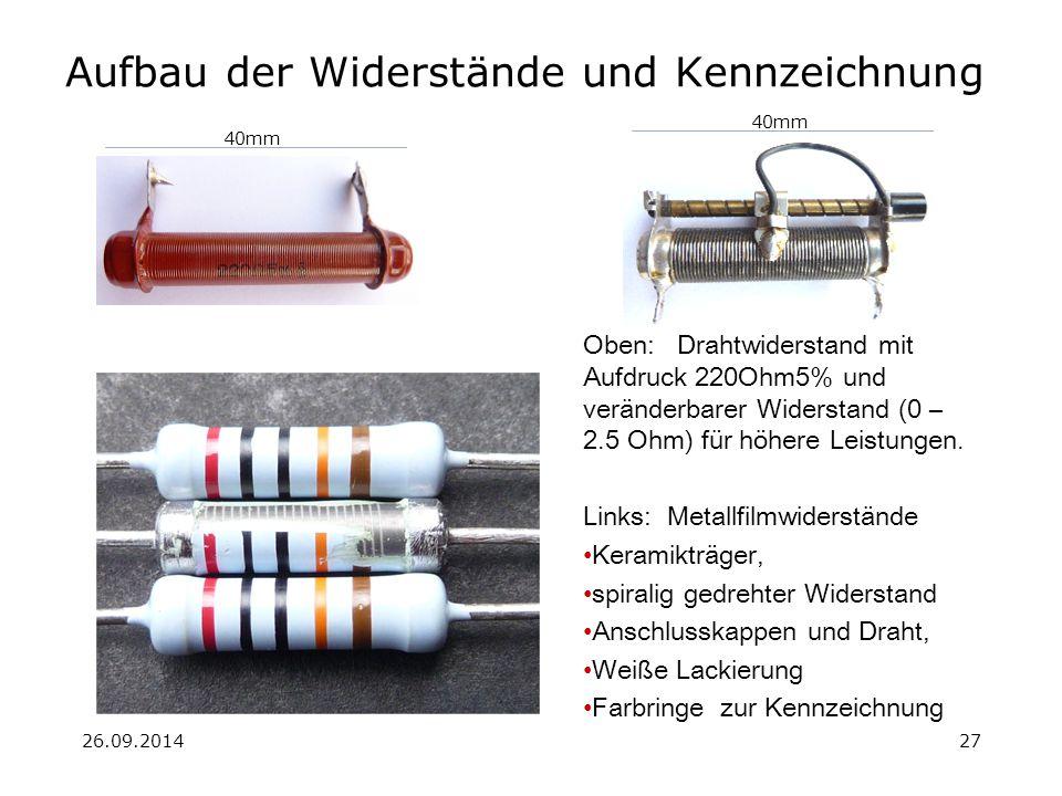 26.09.201427 Aufbau der Widerstände und Kennzeichnung Oben: Drahtwiderstand mit Aufdruck 220Ohm5% und veränderbarer Widerstand (0 – 2.5 Ohm) für höher