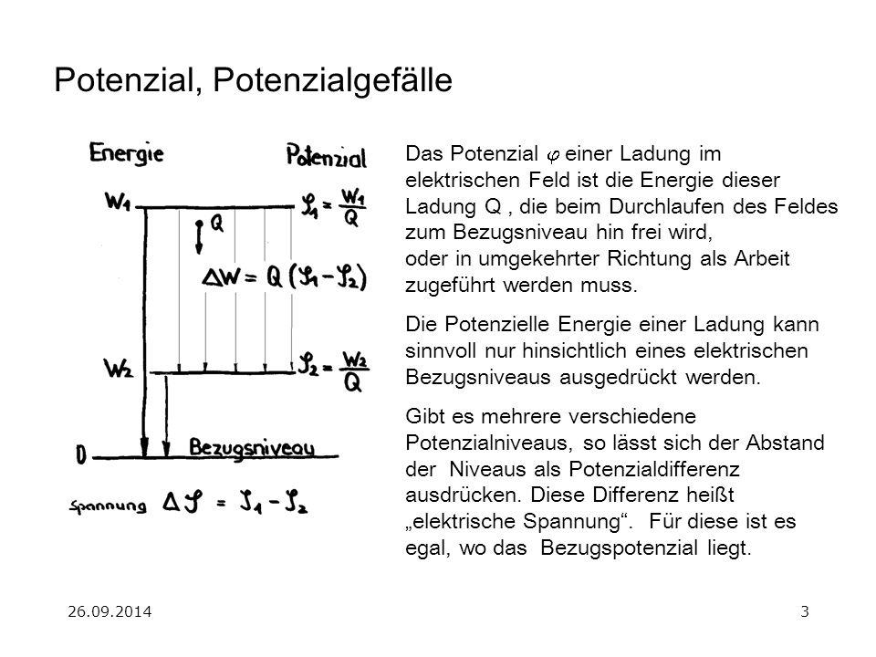 26.09.20143 Potenzial, Potenzialgefälle Das Potenzial  einer Ladung im elektrischen Feld ist die Energie dieser Ladung Q, die beim Durchlaufen des F