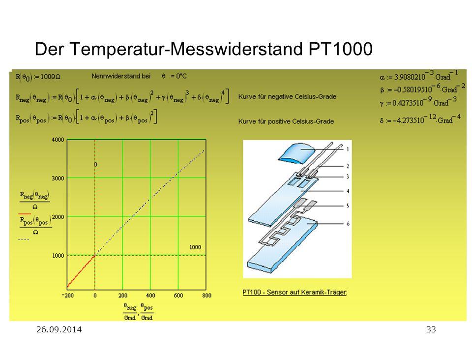 26.09.201433 Der Temperatur-Messwiderstand PT1000