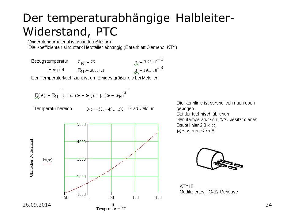 26.09.201434 Der temperaturabhängige Halbleiter- Widerstand, PTC