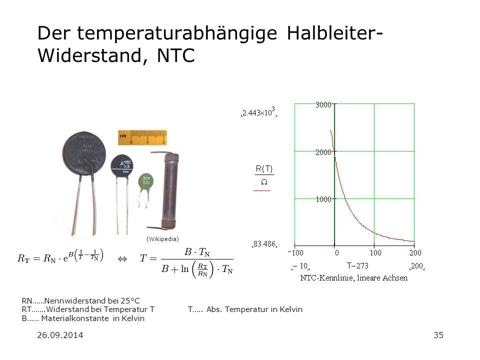 26.09.201435 Der temperaturabhängige Halbleiter- Widerstand, NTC RN……Nennwiderstand bei 25°C RT…….Widerstand bei Temperatur T T….. Abs. Temperatur in