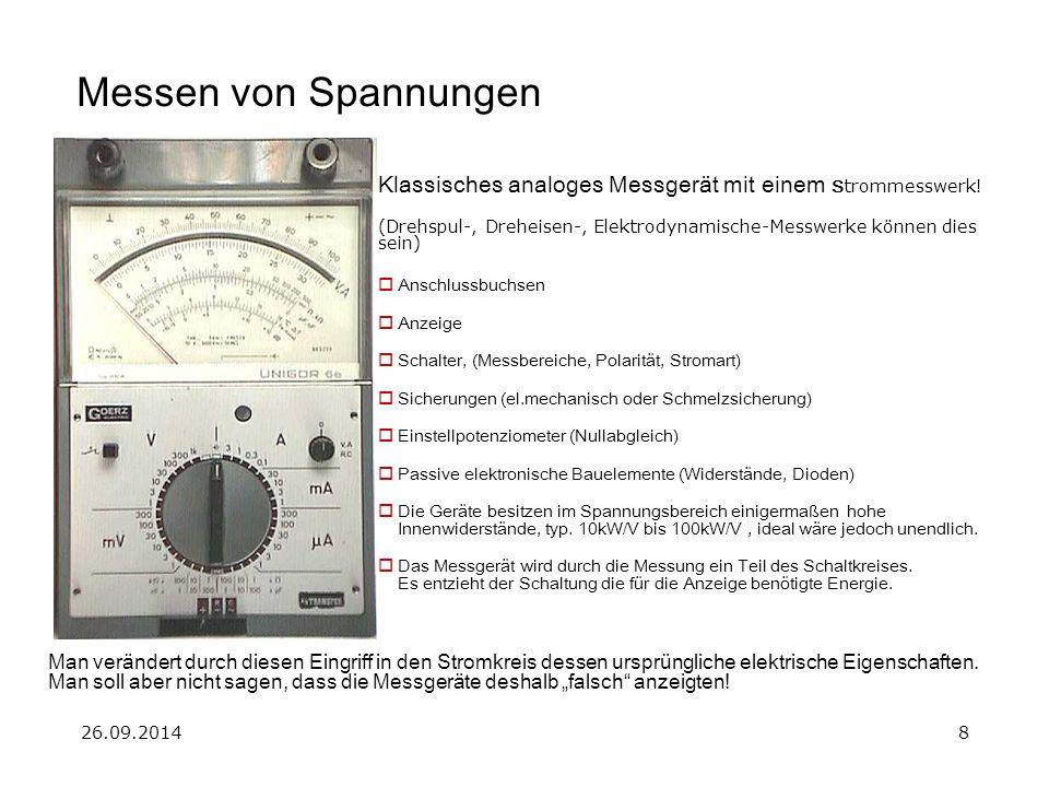 26.09.20148 Messen von Spannungen Klassisches analoges Messgerät mit einem S trommesswerk! (Drehspul-, Dreheisen-, Elektrodynamische-Messwerke können