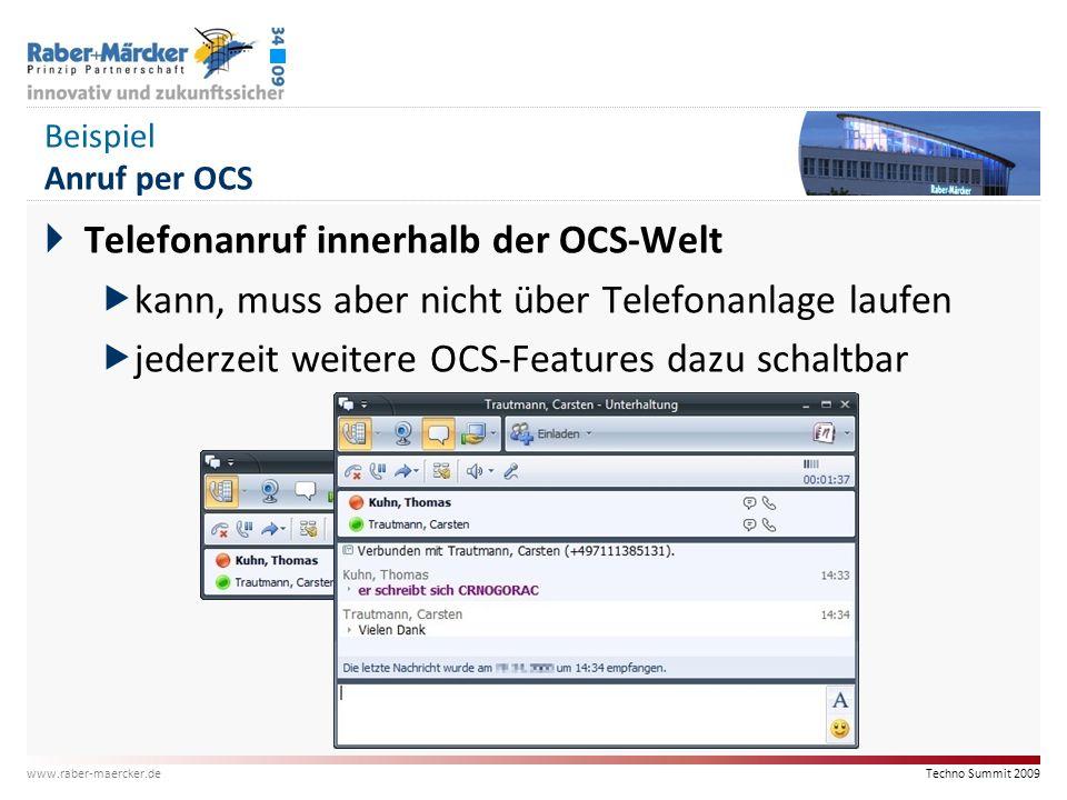 Techno Summit 2009 www.raber-maercker.de Beispiel Anruf per OCS  Telefonanruf innerhalb der OCS-Welt  kann, muss aber nicht über Telefonanlage laufe