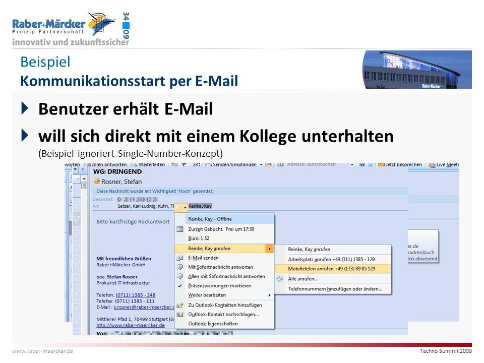 Techno Summit 2009 www.raber-maercker.de Beispiel Kommunikationsstart per E-Mail  Benutzer erhält E-Mail  will sich direkt mit einem Kollege unterha