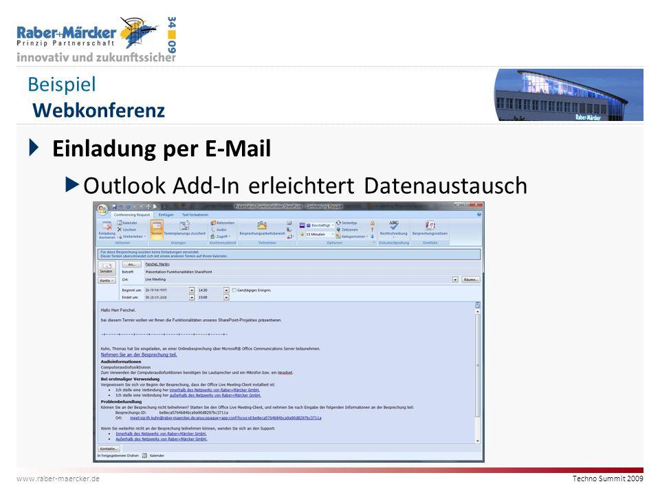 Techno Summit 2009 www.raber-maercker.de Beispiel Webkonferenz  Einladung per E-Mail  Outlook Add-In erleichtert Datenaustausch
