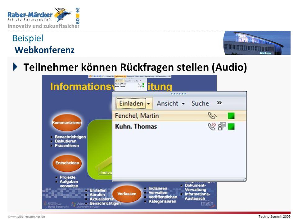 Techno Summit 2009 www.raber-maercker.de Beispiel Webkonferenz  Teilnehmer können Rückfragen stellen (Audio)