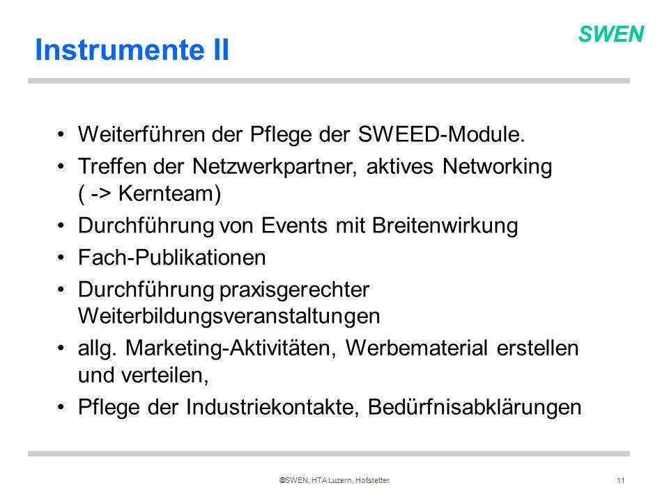 SWEN ©SWEN, HTA Luzern, Hofstetter11 Instrumente II Weiterführen der Pflege der SWEED-Module.