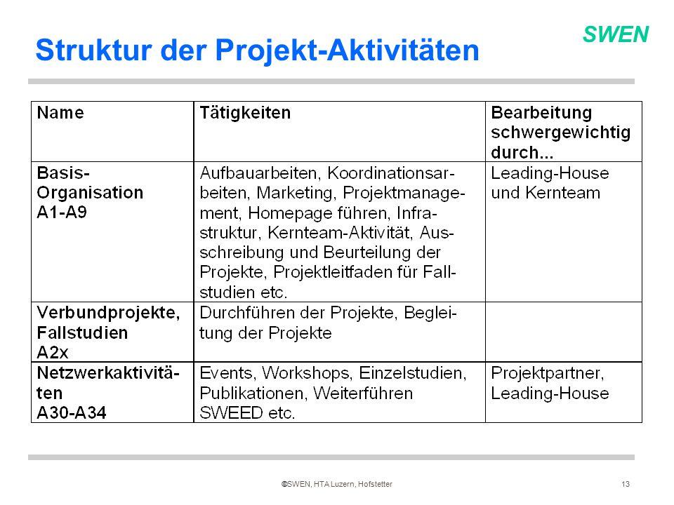 SWEN ©SWEN, HTA Luzern, Hofstetter13 Struktur der Projekt-Aktivitäten