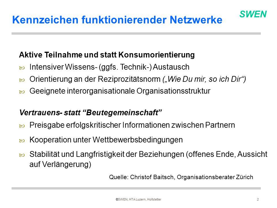 SWEN ©SWEN, HTA Luzern, Hofstetter2 Kennzeichen funktionierender Netzwerke Aktive Teilnahme und statt Konsumorientierung — Intensiver Wissens- (ggfs.