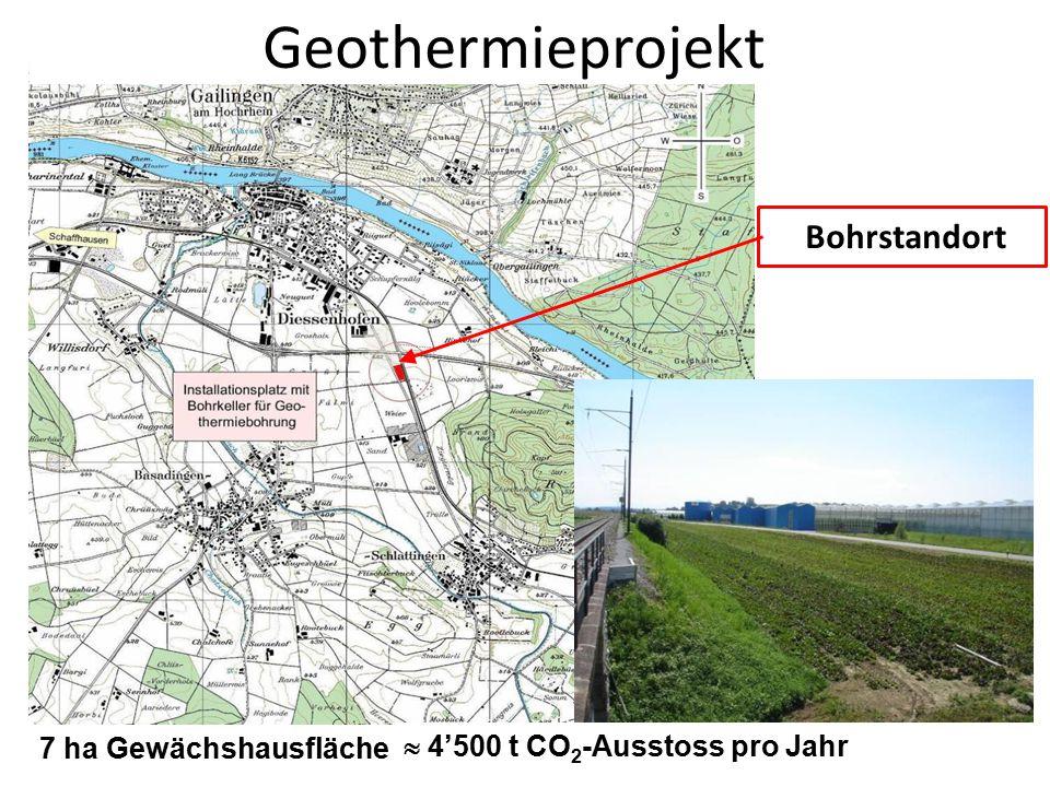 1. März 20125 Bohrstandort 7 ha Gewächshausfläche  4'500 t CO 2 -Ausstoss pro Jahr Geothermieprojekt