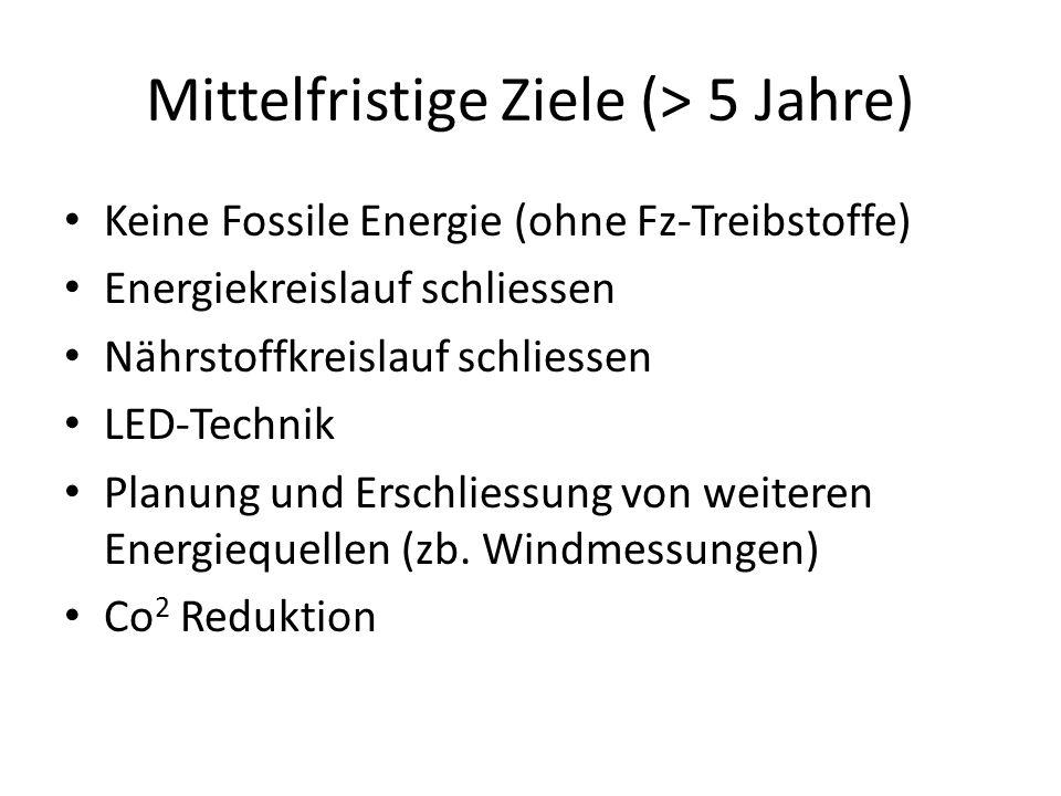 Mittelfristige Ziele (> 5 Jahre) Keine Fossile Energie (ohne Fz-Treibstoffe) Energiekreislauf schliessen Nährstoffkreislauf schliessen LED-Technik Pla