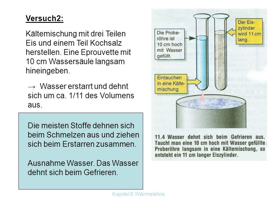 Kapitel 6 Wärmelehre Versuch2: Kältemischung mit drei Teilen Eis und einem Teil Kochsalz herstellen. Eine Eprouvette mit 10 cm Wassersäule langsam hin