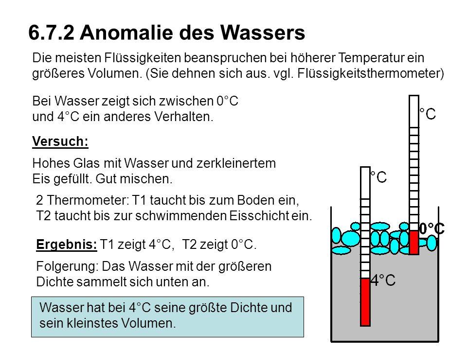 Kapitel 6 Wärmelehre 6.7.2 Anomalie des Wassers Die meisten Flüssigkeiten beanspruchen bei höherer Temperatur ein größeres Volumen. (Sie dehnen sich a