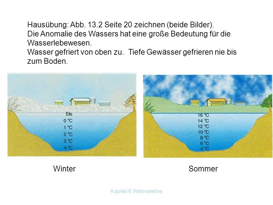 Kapitel 6 Wärmelehre Hausübung: Abb. 13.2 Seite 20 zeichnen (beide Bilder). Die Anomalie des Wassers hat eine große Bedeutung für die Wasserlebewesen.