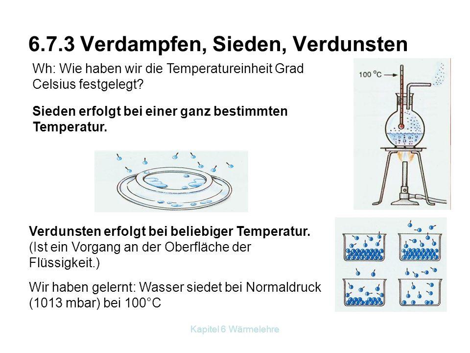 Kapitel 6 Wärmelehre 6.7.3 Verdampfen, Sieden, Verdunsten Sieden erfolgt bei einer ganz bestimmten Temperatur. Wh: Wie haben wir die Temperatureinheit