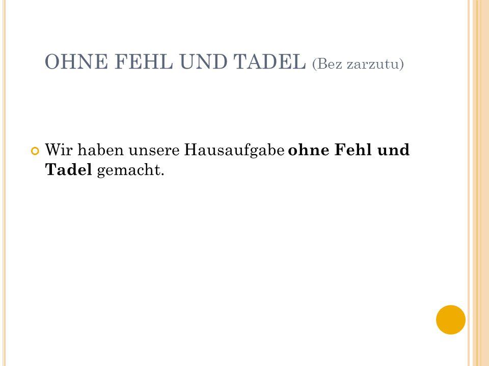 OHNE FEHL UND TADEL (Bez zarzutu) Wir haben unsere Hausaufgabe ohne Fehl und Tadel gemacht.