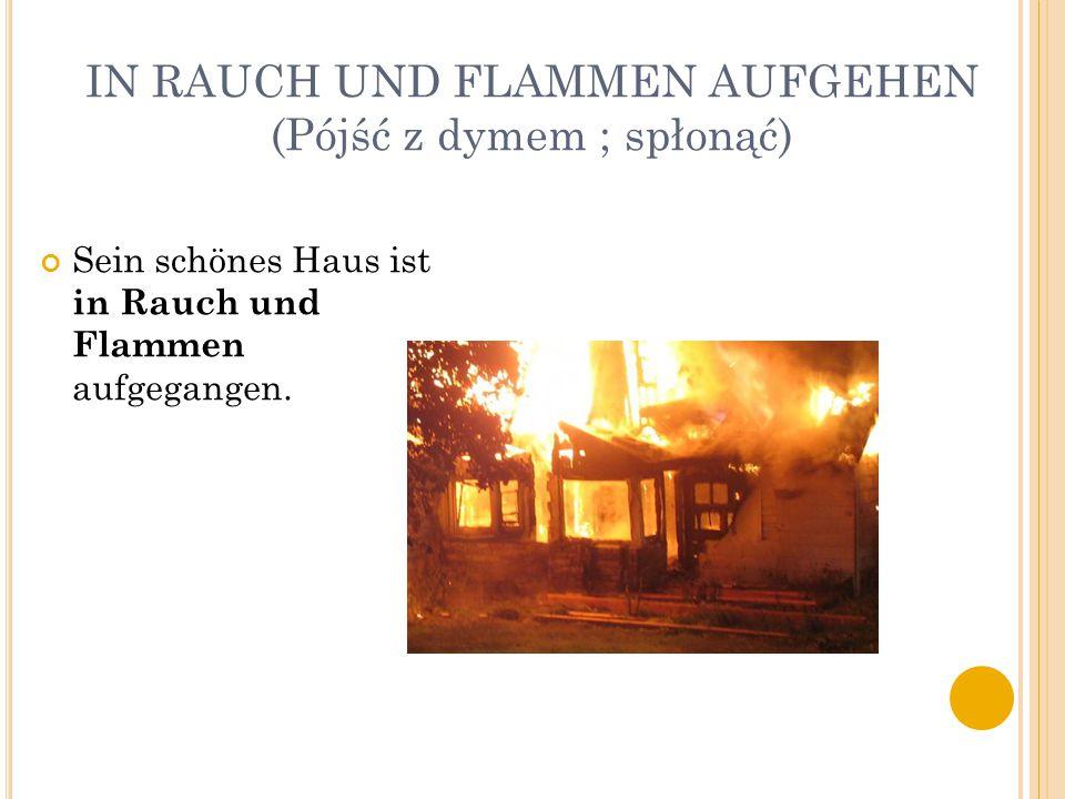 IN RAUCH UND FLAMMEN AUFGEHEN (Pójść z dymem ; spłonąć) Sein schönes Haus ist in Rauch und Flammen aufgegangen.