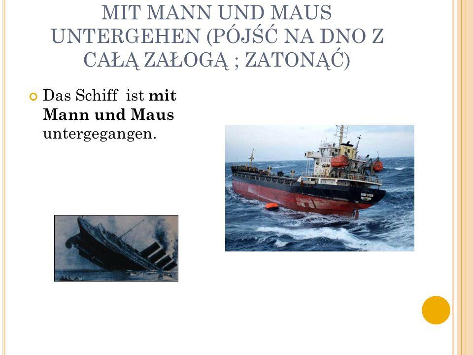 MIT MANN UND MAUS UNTERGEHEN (PÓJŚĆ NA DNO Z CAŁĄ ZAŁOGĄ ; ZATONĄĆ) Das Schiff ist mit Mann und Maus untergegangen.