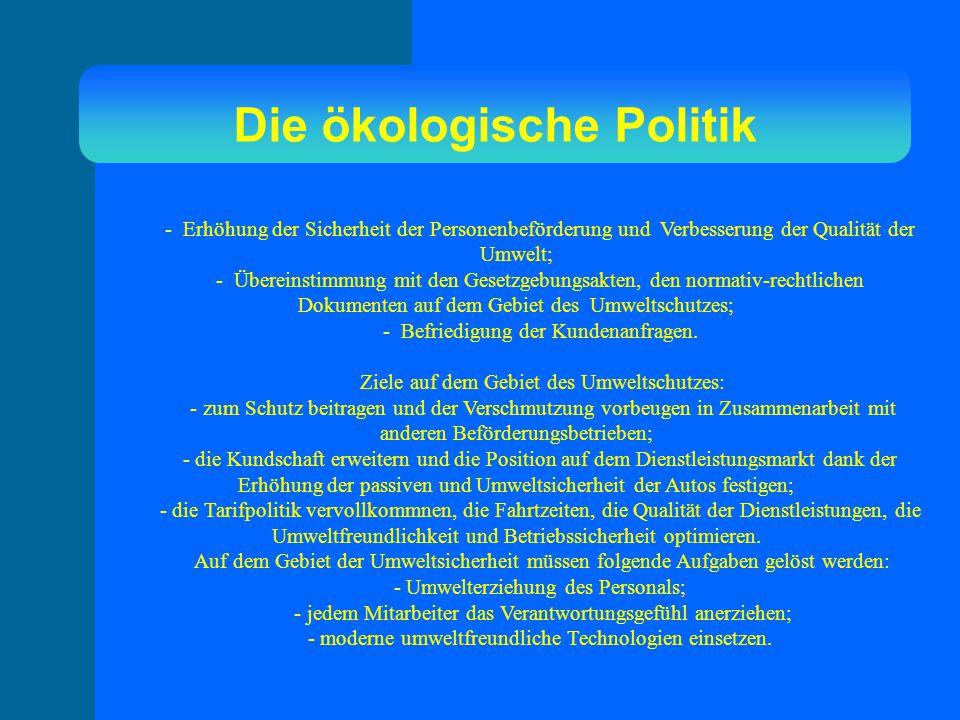 Die ökologische Politik - Erhöhung der Sicherheit der Personenbeförderung und Verbesserung der Qualität der Umwelt; - Übereinstimmung mit den Gesetzgebungsakten, den normativ-rechtlichen Dokumenten auf dem Gebiet des Umweltschutzes; - Befriedigung der Kundenanfragen.