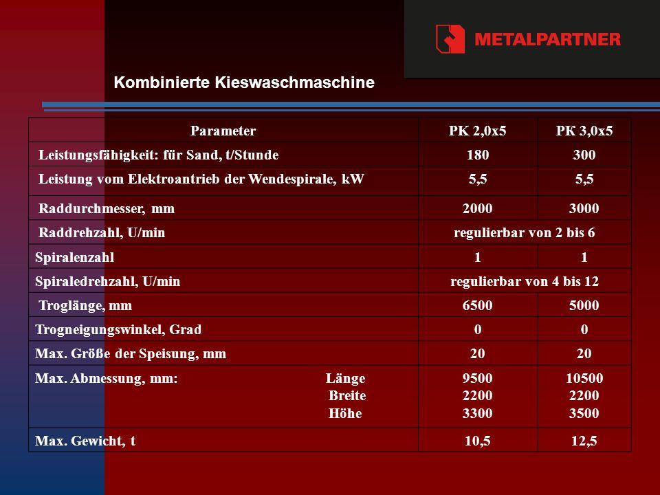 ParameterPK 2,0х5PК 3,0х5 Leistungsfähigkeit: für Sand, t/Stunde180300 Leistung vom Elektroantrieb der Wendespirale, kW5,5 Raddurchmesser, mm20003000 Raddrehzahl, U/minregulierbar von 2 bis 6 Spiralenzahl11 Spiraledrehzahl, U/minregulierbar von 4 bis 12 Troglänge, mm65005000 Trogneigungswinkel, Grad00 Max.