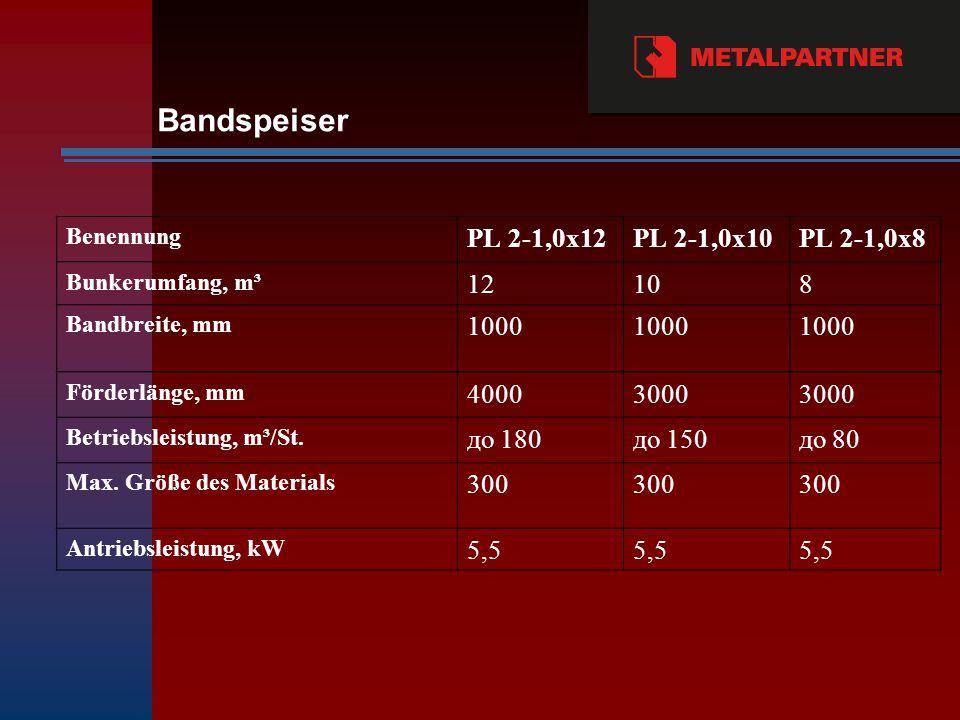 Benennung PL 2-1,0х12PL 2-1,0х10PL 2-1,0х8 Bunkerumfang, m³ 12108 Bandbreite, mm 1000 Förderlänge, mm 40003000 Betriebsleistung, m³/St.