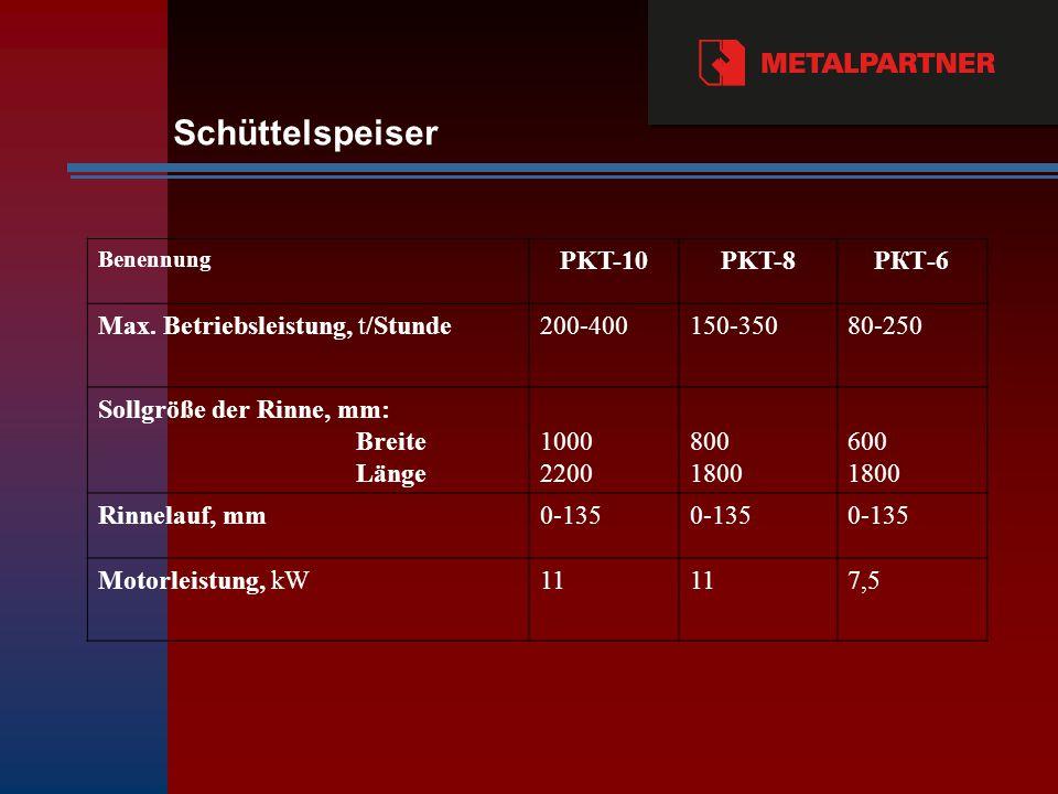 Schüttelspeiser Benennung PKT-10PKT-8PКТ-6 Max.
