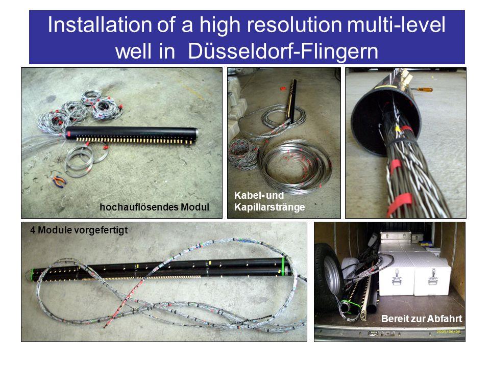Construction of the multi-level well hochauflösendes Modul 4 Module vorgefertigt Kabel- und Kapillarstränge Bereit zur Abfahrt Installation of a high