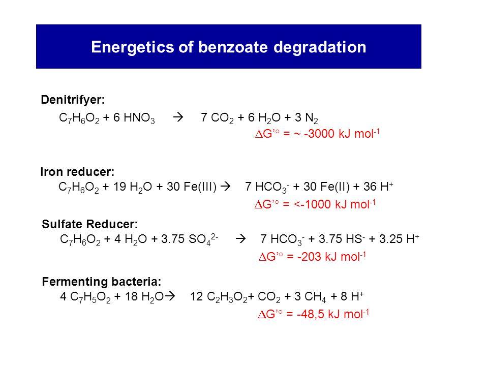 Energetics of benzoate degradation Denitrifyer: C 7 H 6 O 2 + 6 HNO 3  7 CO 2 + 6 H 2 O + 3 N 2  G'° = ~ -3000 kJ mol -1 Sulfate Reducer: C 7 H 6 O