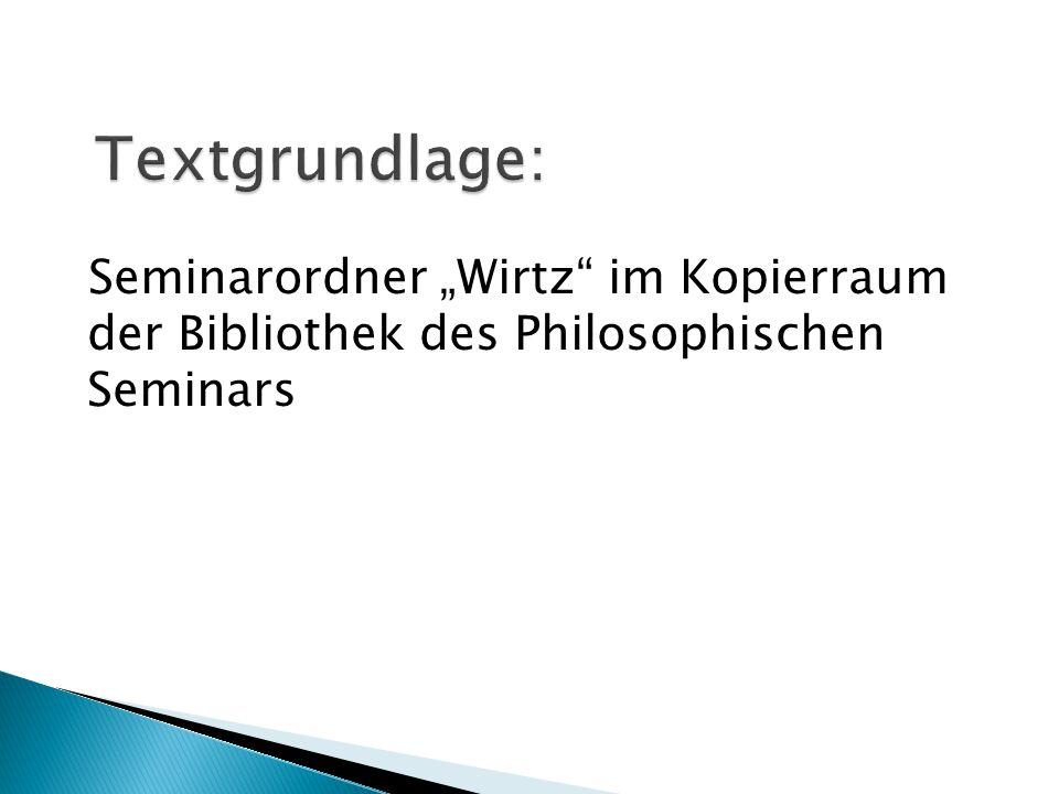 """Seminarordner """"Wirtz"""" im Kopierraum der Bibliothek des Philosophischen Seminars"""