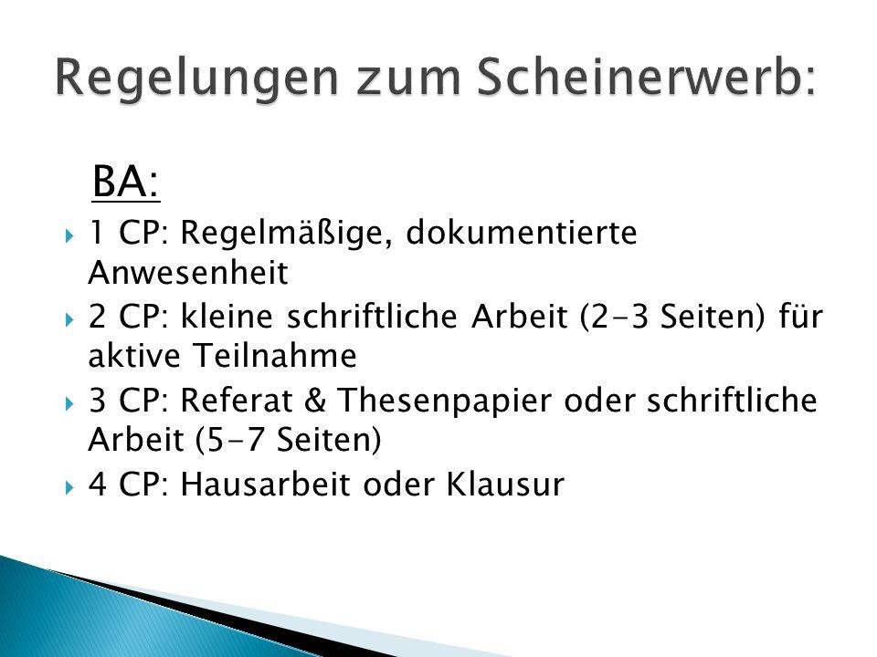 BA:  1 CP: Regelmäßige, dokumentierte Anwesenheit  2 CP: kleine schriftliche Arbeit (2-3 Seiten) für aktive Teilnahme  3 CP: Referat & Thesenpapi