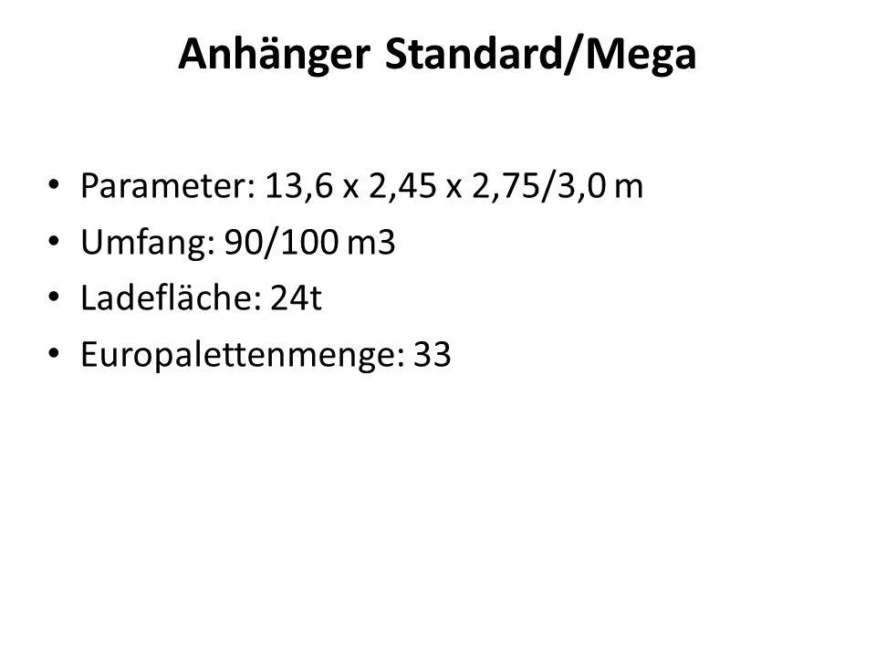 LKW mit Anhängern Parameter: 2 x [7,8 x 2,48 x 3,0] m Umfang: 118 m 3 Ladefläche: 24 t Europalettenmenge: 38