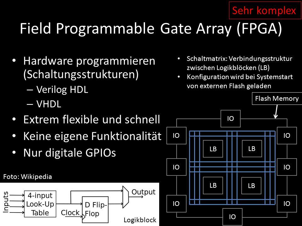 Field Programmable Gate Array (FPGA) Hardware programmieren (Schaltungsstrukturen) – Verilog HDL – VHDL Extrem flexible und schnell Keine eigene Funkt